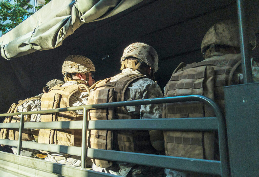 Soldiers driving in the truck